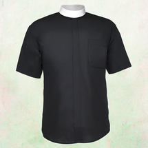 Men's Short-Sleeve Clergy Shirt - Neckband Style in Black