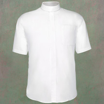 Men's Short-Sleeve Clergy Shirt - Neckband Style in White