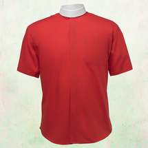 Men's Short-Sleeve Clergy Shirt - Neckband Style in Red