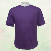 Men's Short-Sleeve Clergy Shirt - Neckband Style in Purple
