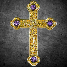 Unique Cross Pendant and Chain Set with Purple Stones
