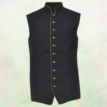 Men's Full Tailored Clergy Vest in Black with Gold Accents