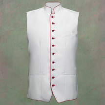Men's Full Tailored Clergy Vest in White with Red Accents