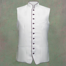 Men's Full Tailored Clergy Vest in White with Purple Accents