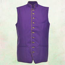 Men's Full Tailored Clergy Vest in Purple with Gold Accents