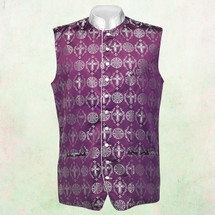 Men's Tailored Exclusive Clergy Vest in Purple/White Brocade