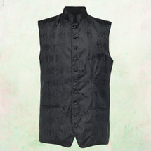 Men's Tailored Exclusive Clergy Vest in Black with Black Brocade