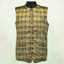 Men's Tailored Exclusive Clergy Vest in Gold with Black Brocade