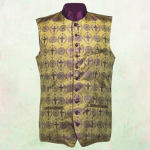 Men's Tailored Exclusive Clergy Vest in Gold with Purple Brocade