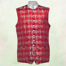 Men's Tailored Exclusive Clergy Vest in Red with White Brocade