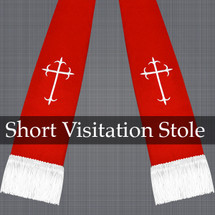 Red and White Satin Visitation Clergy Stole with Crosses