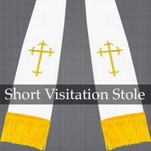 White and Gold Satin Visitation Clergy Stole with Crosses