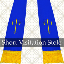 Royal Blue/Gold Satin Visitation Clergy Stole with Crosses
