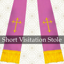 Lavender & Gold Satin Visitation Clergy Stole with Crosses