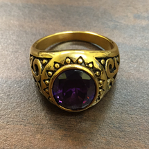 Elegant Round Bishop Rings in Classic Design with Purple Stone