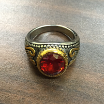 Elegant Apostle Round Rings in Two-Tone Design with Red Stone
