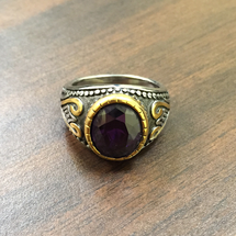 Elegant Round Bishop Rings in Two-Tone Design with Purple