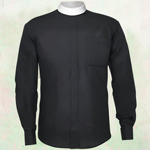 Men's Long-Sleeve Clergy Shirt - Neckband Style in Black