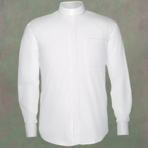 Men's Long-Sleeve Clergy Shirt - Neckband Style in White