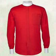 Men's Long-Sleeve Clergy Shirt - Neckband Style in Red & White Sleeves