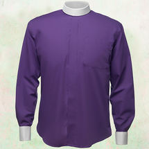 Men's Long-Sleeve Clergy Shirt - Neckband Style in Purple & White Sleeves