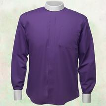 Men's Long-Sleeve Clergy Shirt - Neckband Style in Purple & White Sleeves