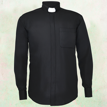 Men's Long-Sleeve Clergy Shirt with Tab Collar in Black
