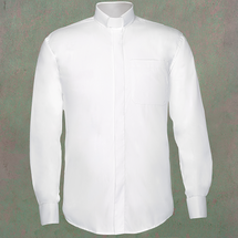 Men's Long-Sleeve Clergy Shirt with Tab Collar in White