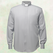 Men's Long-Sleeve Clergy Shirt with Tab Collar in Grey