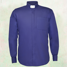 Men's Long-Sleeve Clergy Shirt with Tab Collar in Purple