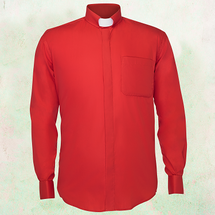 Men's Long-Sleeve Clergy Shirt with Tab Collar in Red