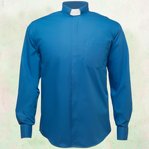 Men's Long-Sleeve Clergy Shirt with Tab Collar in Royal Blue