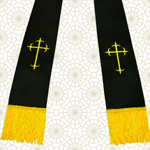 Black and Gold Satin Clergy Stoles with Crosses