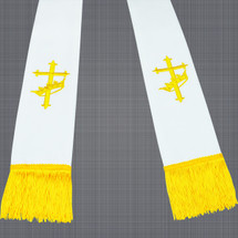 White and Gold Satin Clergy Stoles with Cross & Crown