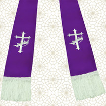 Purple and White Satin Clergy Stoles with Cross & Crown