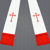 White and Red Satin Clergy Stoles with Crosses