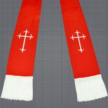 Red and White Satin Clergy Stoles with Crosses