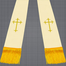Champagne and Gold Satin Clergy Stoles with Crosses