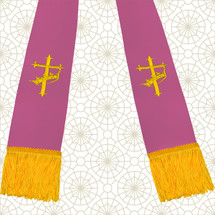 Lavender and Gold Satin Clergy Stoles with Cross & Crown