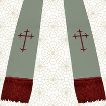 Gray and Burgundy Satin Clergy Stoles with Crosses