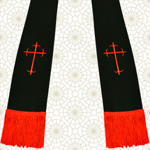Black and Red Satin Clergy Stoles with Crosses