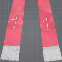 Pink and White Satin Clergy Stole with Crosses