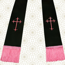 Black and Pink Satin Clergy Stole with Crosses