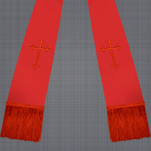 Red and Red Satin Clergy Stole with Crosses