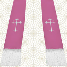 Lavender and White Satin Clergy Stole with Crosses