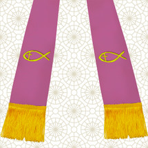 Lavender and Gold Satin Clergy Stole with Jesus Fish