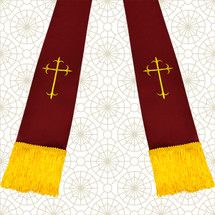 Burgundy and Gold Satin Clergy Stole with Crosses