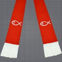 Red and White Clergy Stole with Jesus Fish