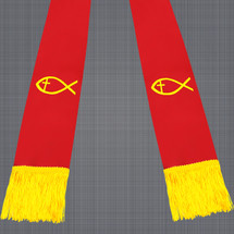 Red and Gold Satin Clergy Stole with Jesus Fish