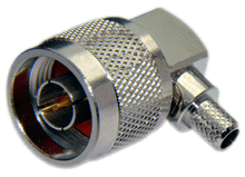 Type N Male Right Angle Connector For RG58/RG142/RG223/RG400/LMR195/LOW195 cables - Crimp Connector with Captivated Pin - NML195CRA